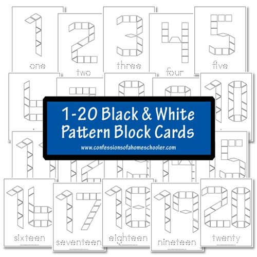 FREE Black and White Pattern Block Cards - Numbers 1-20 Preschool