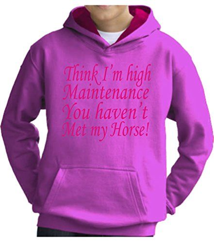 TWO TONE Candyfloss/Hot Pink Hoodie 'THINK I'M HIGH MAINTENANCE YOU HAVEN'T MET MY HORSE' with Hot Pink Print.