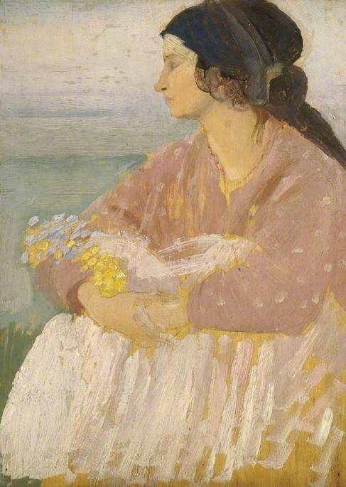Dorelia Seated and Holding Flowers by Augustus Edwin John The Fitzwilliam Museum Date painted: c.1912 Oil on panel, 32.8 x 23.8 cm