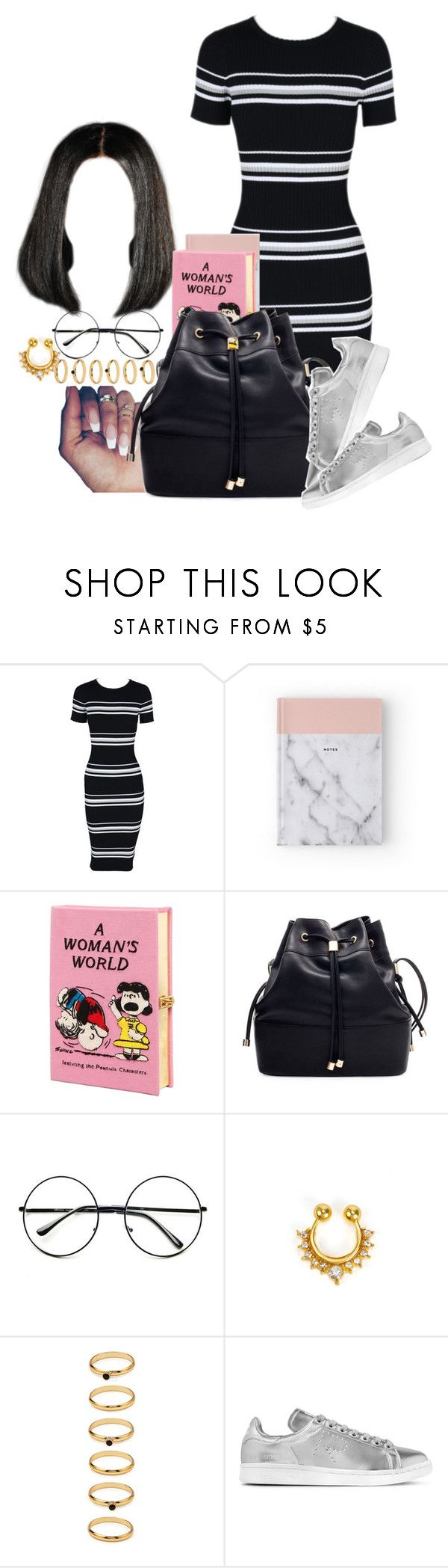 """""""Lunch at the Cafe"""" by melaninprincess-16 ❤ liked on Polyvore featuring MINKPINK, Olympia Le-Tan, Retrò, NLY Accessories, Forever 21 and adidas Originals"""