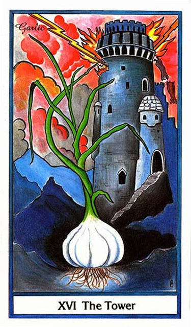 XVI. The Tower (Garlic) - Herbal Tarot by Candice Cantin, Michael Tieris