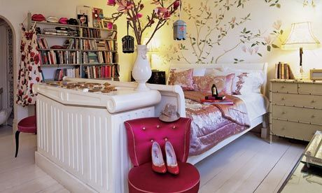 Lulu Guinness, interiors and fashion designer, shows off her theatrical, sanctuary of a bedroom
