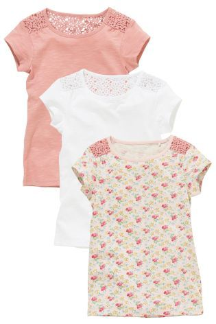 Three Pack Lace Shoulder T-Shirts (3-16yrs) - Next £16