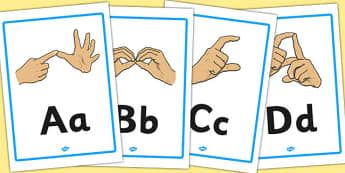 Sign Language Manual Alphabet A4 Posters - posters, a4