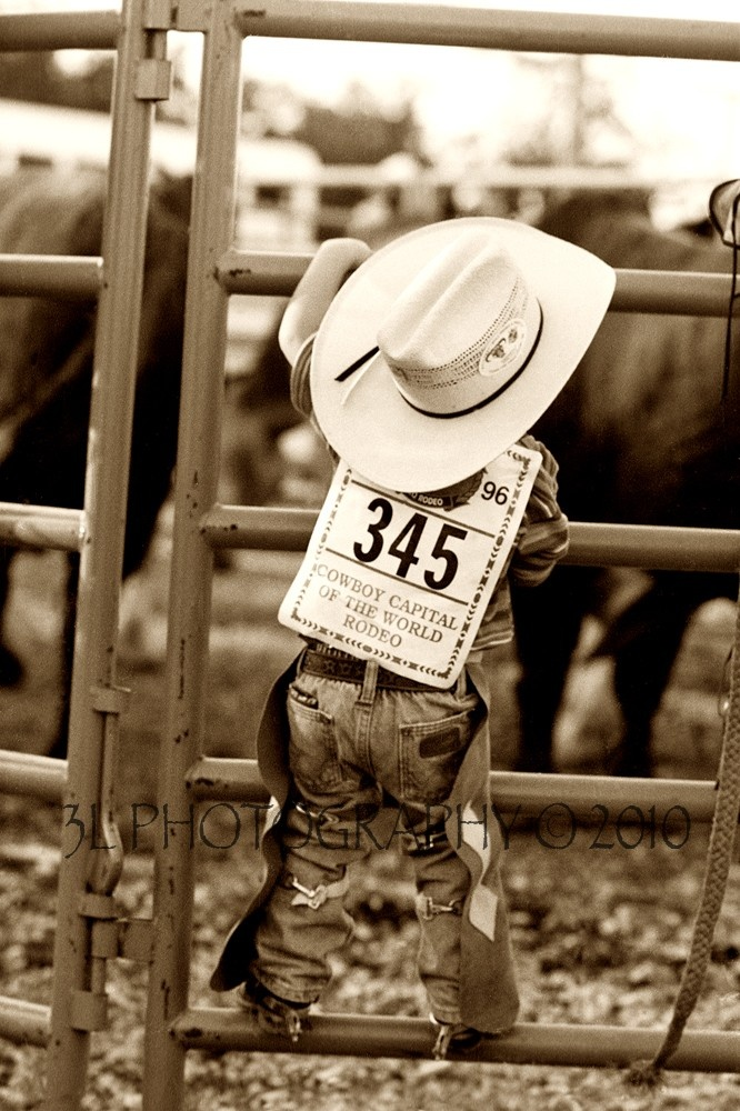 This little cutie pie is going to grow up and be a famous bullrider