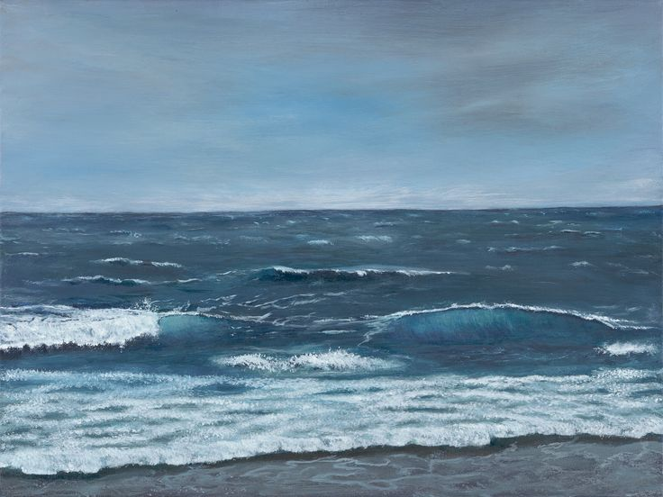 """Waves""  (SOLD) Original Painting by Karen Sargent,  12x16 Acrylic on Canvas"