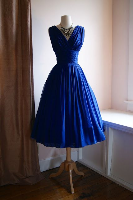Xtabay Vintage Clothing Boutique -  1950s prom gown in blue chiffon