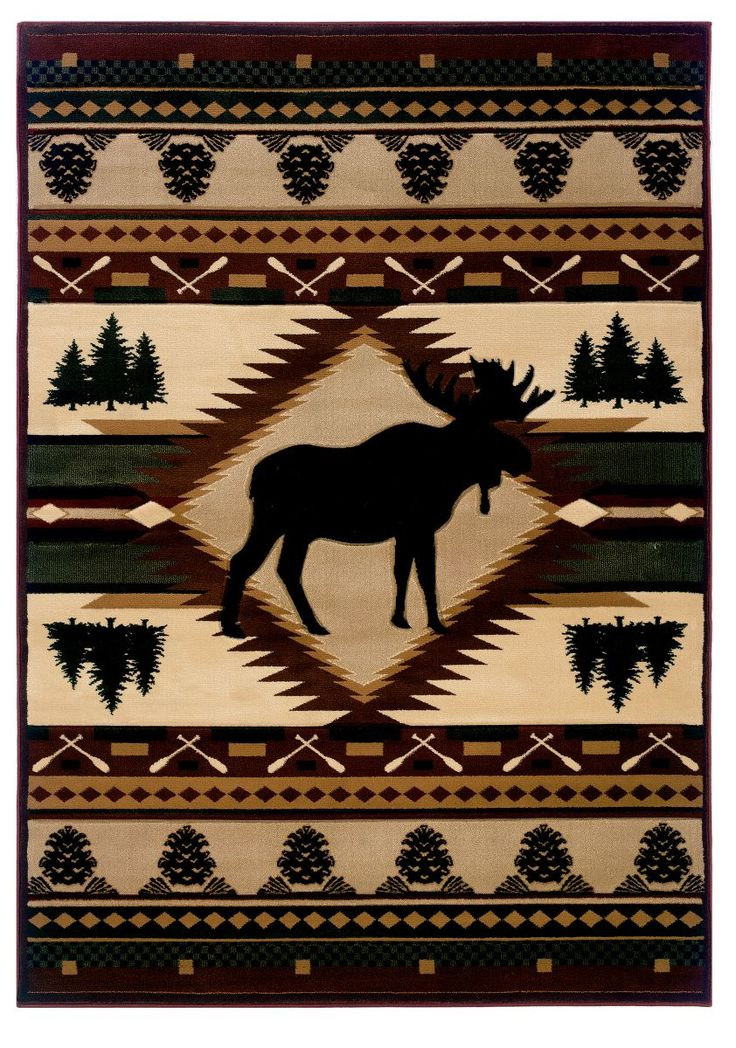 Moose Wilderness Rustic Area Rug Log Cabin Decor And Western Ranch Discover The Lodge Influence In With A Southwestern