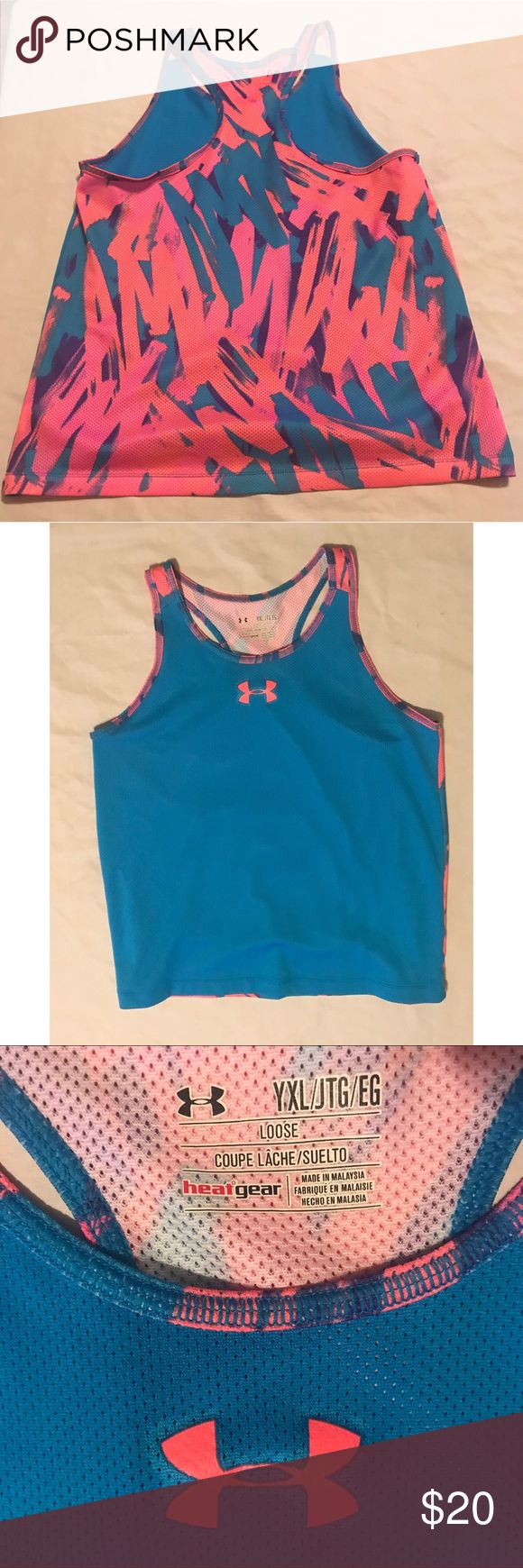 Under Armour Youth XL Tank Top Under Armour Youth XL Mesh Tank Top Blue & Pink graffiti style design on back    tags Under Armour Athletic Clothes Under Armour Shirts & Tops Tank Tops