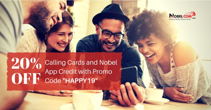 """A big thank you to all of you for choosing #NobelComProducts for the past 19 years! This is our anniversary gift to you.  Use promo code """"HAPPY19"""" at checkout and get 20% #DISCOUNT on our calling products!  This #promotion is valid until September 1st, 2017 and it applies to all #NobelCom #callingcards as well as #NobelAppCredit."""