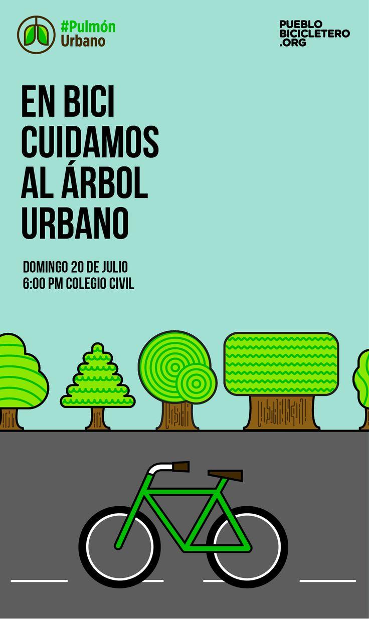 ¡En Bici Cuidamos al Árbol Urbano!   Todo listo para rodar este domingo 20 de julio. Te esperamos a las 6:00 pm en la explanada de Colegio Civil. Con una ruta de 17.6 km (apta para todo público) pasaremos por diferentes parques y plazas de Monterrey con gran arbolado, para terminar con un recorrido completo por la Calzada Madero, conocida por sus amplias banquetas y zona arbolada. Aquí puedes ver la ruta: www.pueblobicicletero.org/2014/07/enbici-cuidamosalarbolurbano/