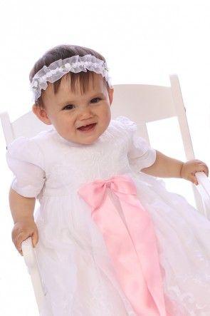 Paris Babtism dress, and large pink bow