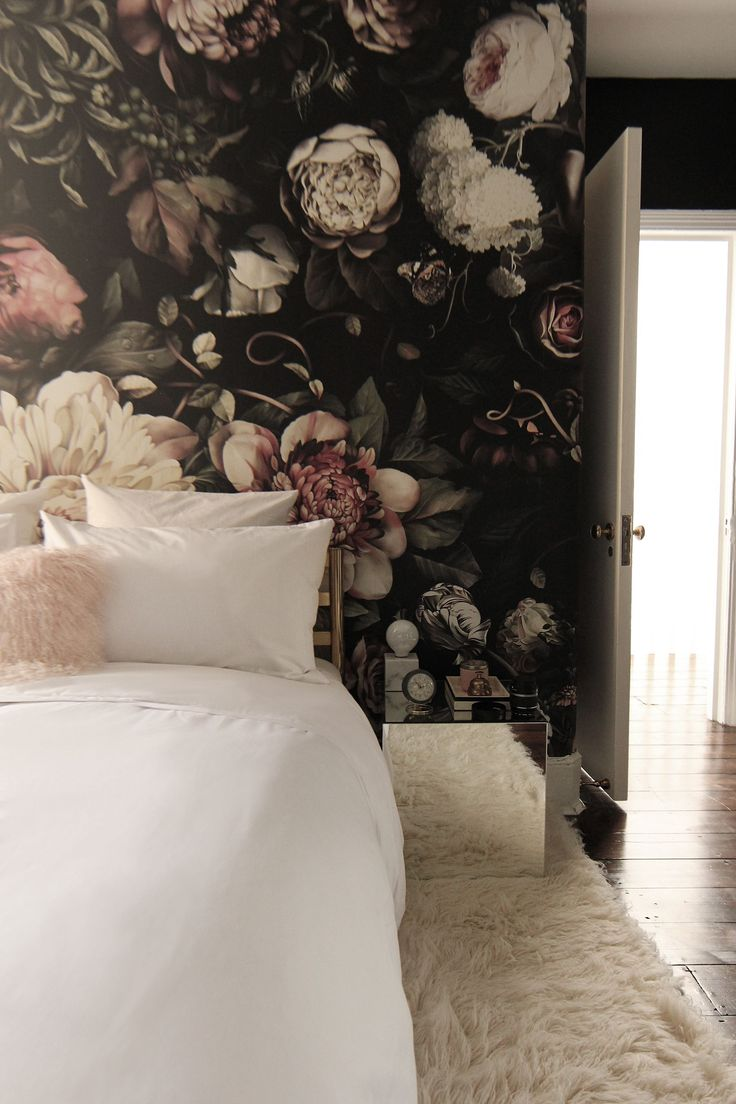 before after a london bedroom gets a dark dramatic floral makeover - Floral Wallpaper Bedroom Ideas