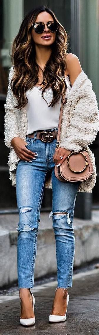 #winter #outfits white top, sweater, ripped jeans, heels