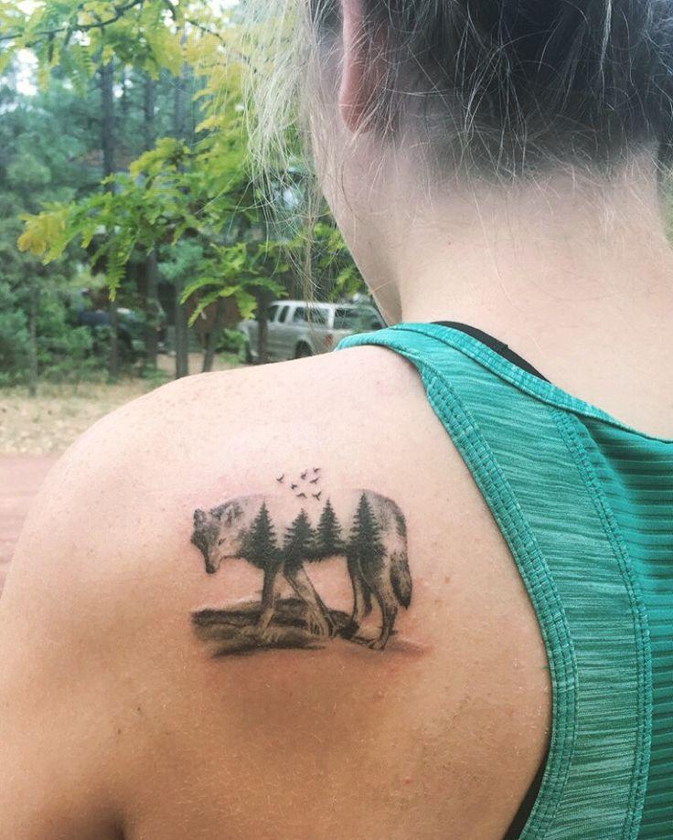 Wolf tattoo double exposure