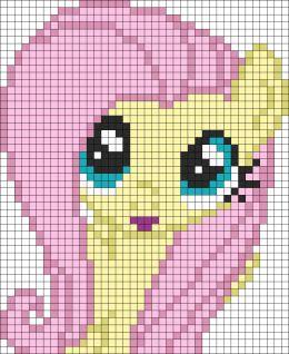 Fluttershy My Little Pony - Free Cross Stitch Chart or Hama Perler Bead Pattern Crochet granny blanket chart
