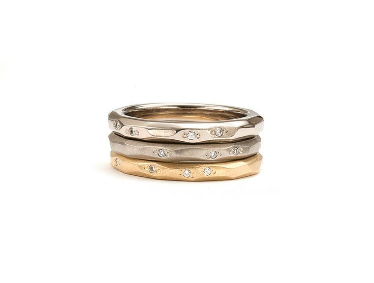 18ct White gold polished and brushed and 18ct Yellow gold brushed, Faceted Bands, set with white diamonds. www.kristamcrae.com
