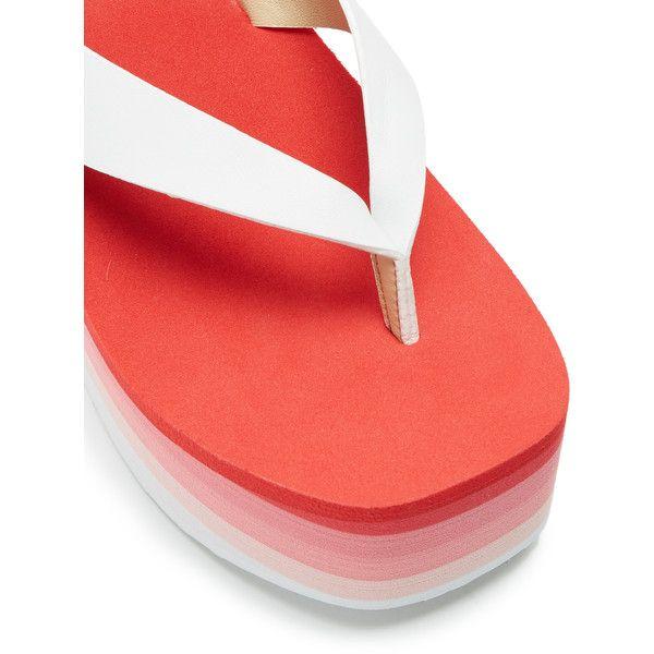 ESXRD Paradise leather platform flip-flops ($85) ❤ liked on Polyvore featuring shoes, sandals, flip flops, leather shoes, rocket dog sandals, platform sandals, leather flip flops and rocket dog flip flops