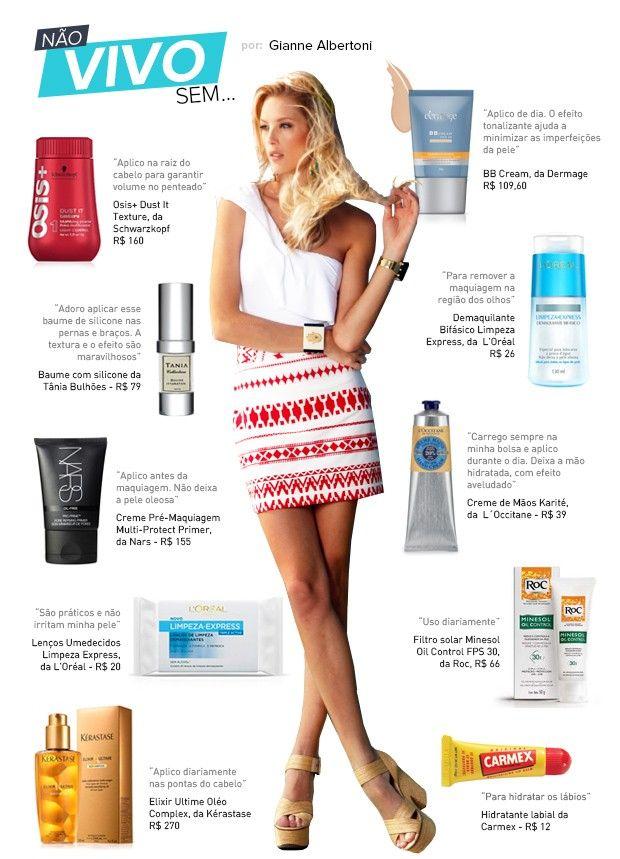Gianne Albertoni dá dicas de produtos para maquiagem, pele e cabelos