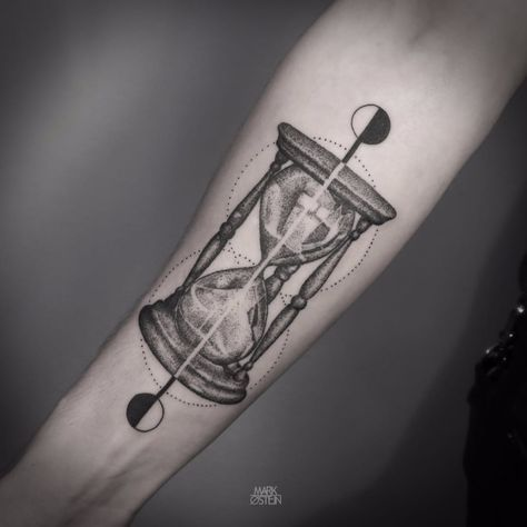 Blackwork Hourglass Tattoo by Mark Ostein #BlackworkHourglass #Hourglass…