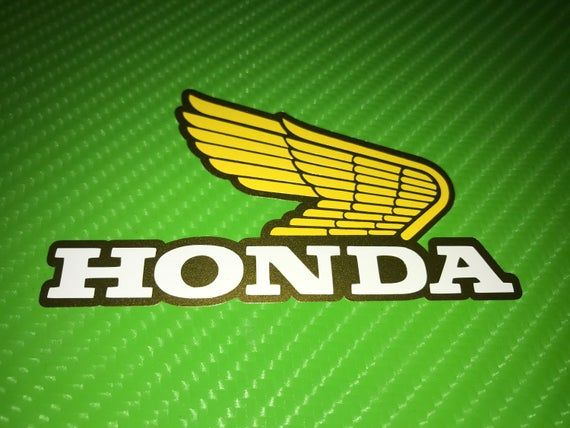 X2 Old Style Honda Wings Gold Yellow White Side Fairing Tank Top Box Vinyl Motorcycle Decal Sticker Honda Wing Motorcycle Logo Motorcycle Decals