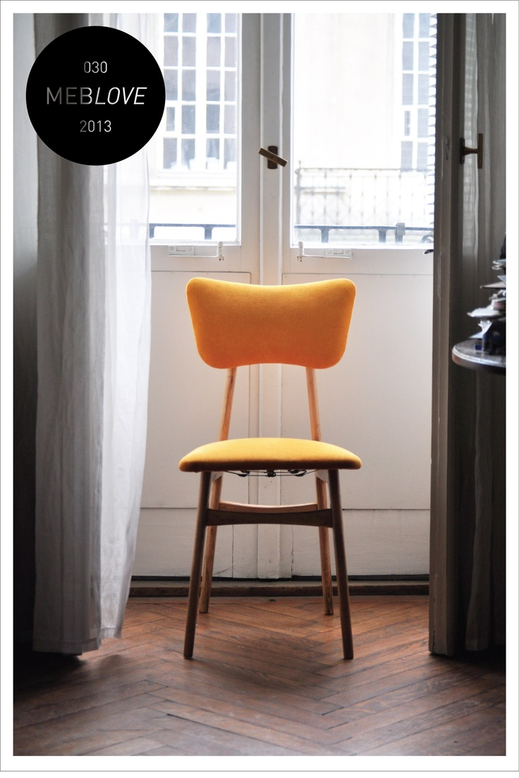 meblove, orange vintage chair