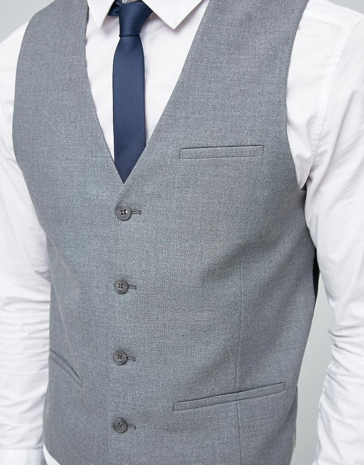 Image 3 of ASOS Waistcoat with Square Hem in Grey