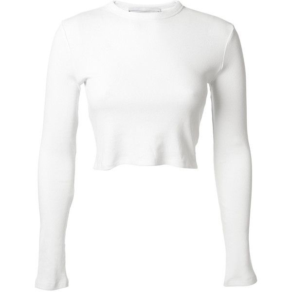 Rosetta Getty White Tight Crop Top ($210) ❤ liked on Polyvore featuring tops, shirts, long sleeve tops, white shirt, long-sleeve shirt, white crop shirt and long sleeve cotton shirts