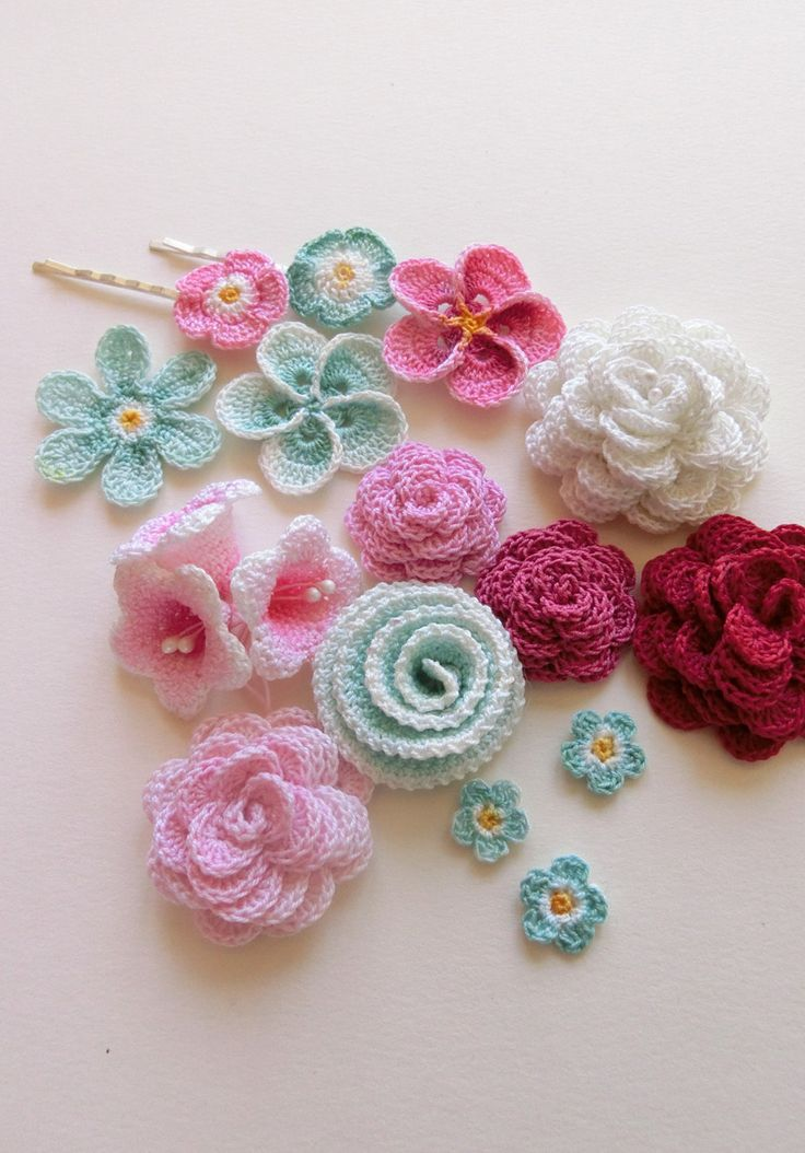 Crochet Snowdrop Flower Pattern Tutorial : Mixed set in pink & Aqua. Plumeria & Bellflower patterns ...