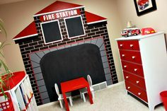 boys firetruck bedroom decor ideas- fire station mural