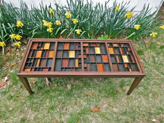 Handmade wood coffee table with a glass table top that lifts out over a top made of  colorful wood blocks in a built in printers type tray. by xenasdad on Etsy https://www.etsy.com/listing/188811687/handmade-wood-coffee-table-with-a-glass