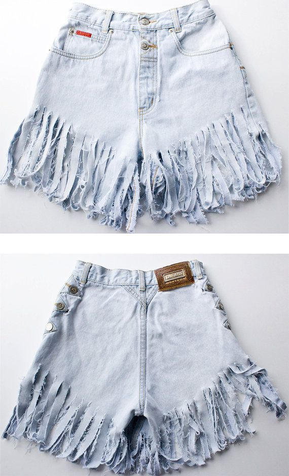 Upcycled Vintage Western Fringed Denim Cut Off Shorts by TwiceLux, $36.00