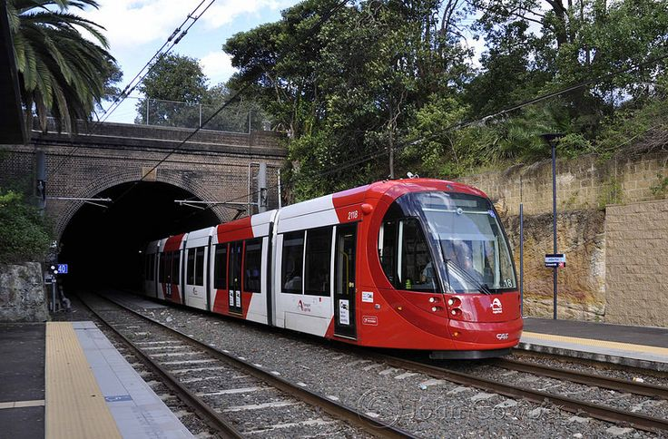 Sydney Light Rail - Into the light! Outward bound LRV2118 emerges from the Glebe Tunnel