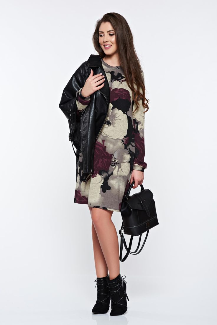 StarShinerS casual flared with floral print purple dress