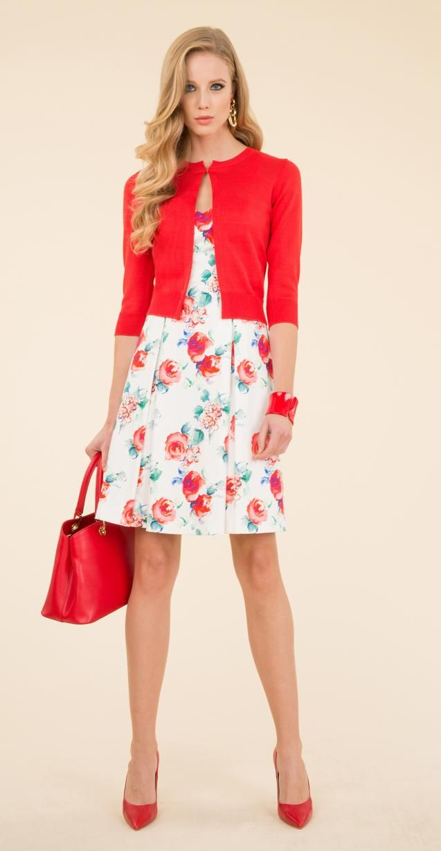 Floral printed dress, woven jacket, Iulia bag and Numero bracelet.