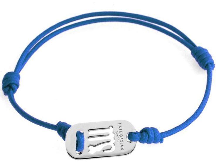 Tateossian.com - Zodiac Silver Virgo Blue Wax Cord Bracelet