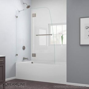 "DreamLine SHDR-3348588 AquaLux 58"" High x 48"" Wide Hinged Frameless Shower Door Brushed Nickel Showers Shower Doors Swing"