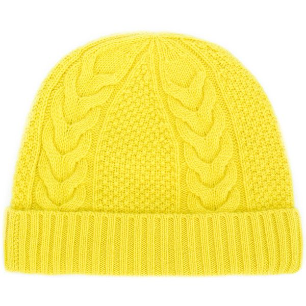 N.Peal cable knit beanie (2 600 UAH) ❤ liked on Polyvore featuring accessories, hats, yellow, cable beanie hat, cable hat, yellow beanie, cable beanie and cashmere beanie hats