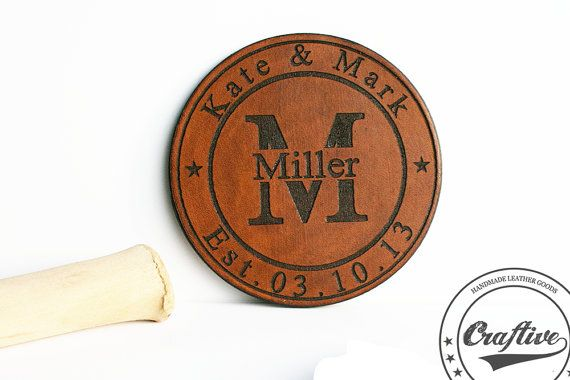 House Warming gift,Couples gift,Engagement gifts for couple,3rd Anniversary,Leather Anniversary,Personalized Leather Coasters Set,Pers Name  These personalized leather coas...
