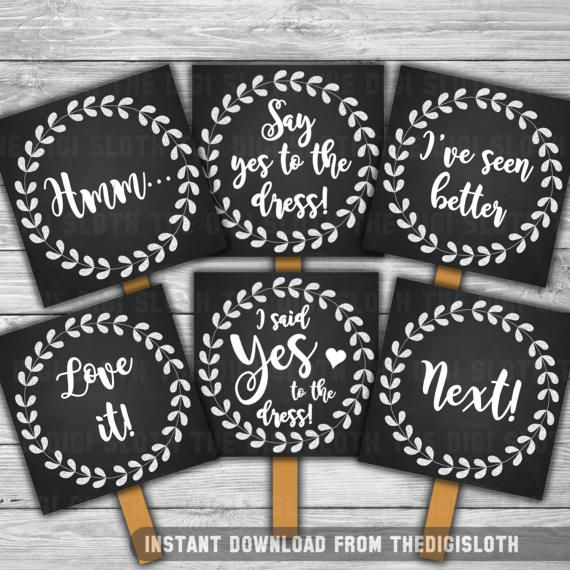 Say Yes To The Dress / Wedding Dress Shopping / Say Yes Paddle / Choosing Wedding Dress / Fun Bridal Shower Game Sign / Wedding Dress Ideas