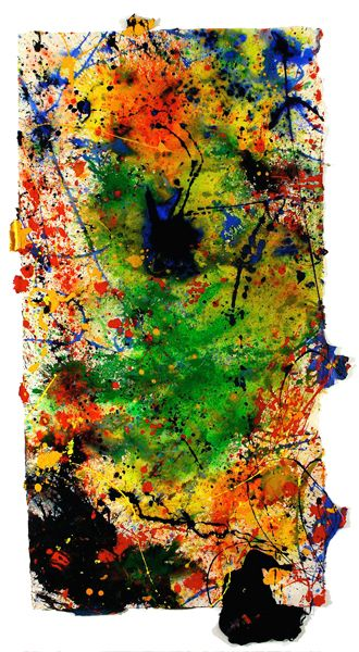 Sam Francis - Untitled, 1988 , acrylic on paper, 184 x 91 cm