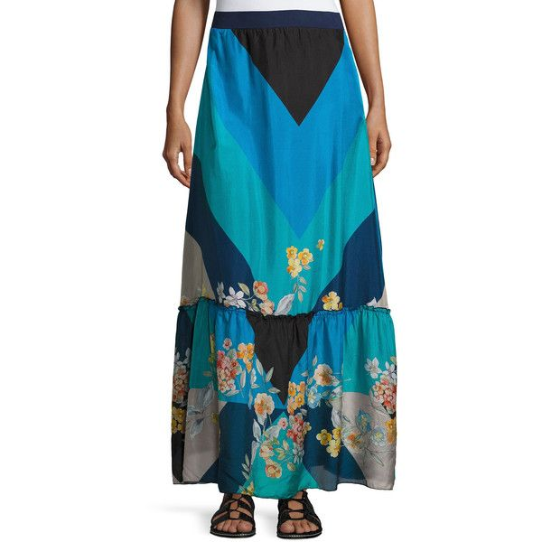 Johnny Was Mixed Print Silk Habutai Maxi Skirt ($280) ❤ liked on Polyvore featuring skirts, multi, long ankle length skirts, tiered maxi skirt, chevron print maxi skirt, chevron striped maxi skirt and long maxi skirts