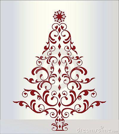 Elegant christmas tree in red