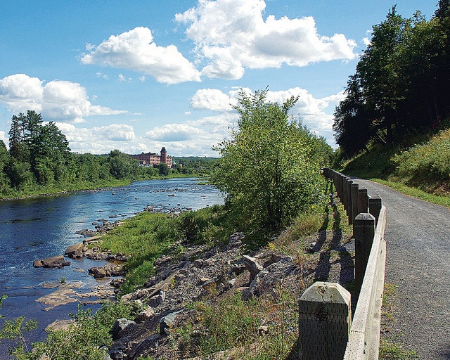 View of the old Cotton Mill from wonderful riverside trails in Fredericton, New Brunswick, CANADA