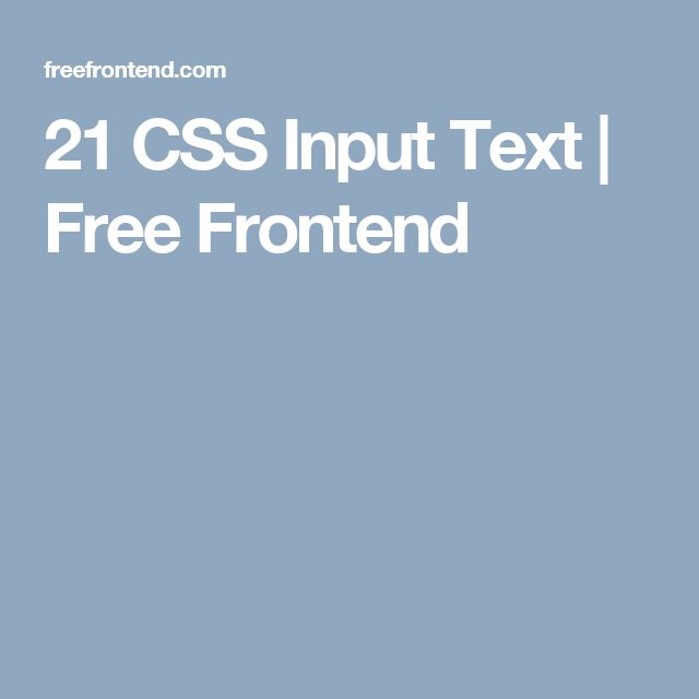 21 CSS Input Text   Free Frontend