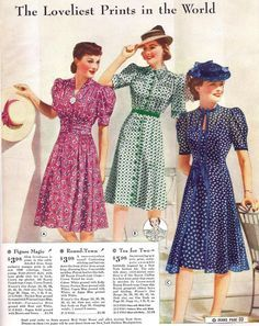 842ed98325c 1940 Sears Catalog day dress 40s floral dots blue navy white green button  front short sleeves pink red puff color illustration hats swing war era  vintage ...