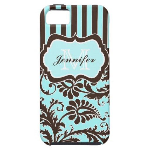 Blue, Brown, White Striped Damask iPhone 5 Case
