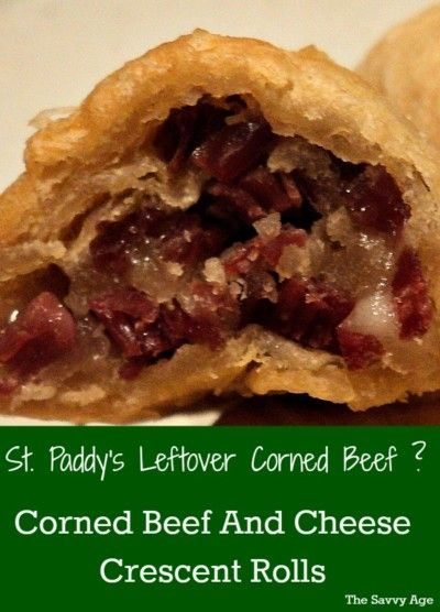 Leftover corned beef? Quick & easy Corned Beef And Cheese Crescent Rolls recipe !