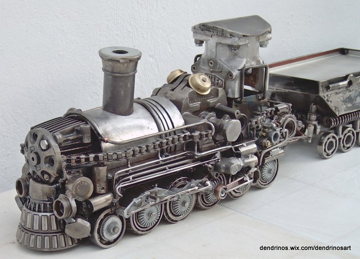 METAL ART TRAIN SCULPTURE handmade by artist Yiannis Dendrinos Welded car parts Anti-rust varnished for indoor use Ships in 7-10 working days Certificate of authenticity available on demand Shipping cost calclulated on demand  €2,300.00 (VAT 24% is included)