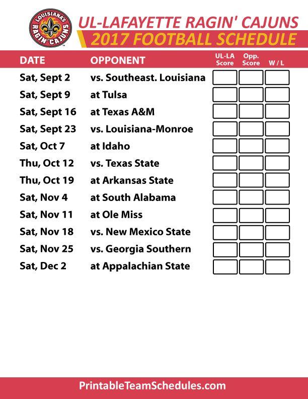 2017 UL Lafayette Ragin Cajuns Football Schedule